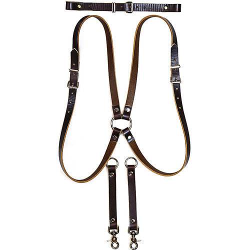 Funk Plus Skinny Ring Back Dual-Camera Cowhide Leather Harness with Chest Adjuster (Brown)