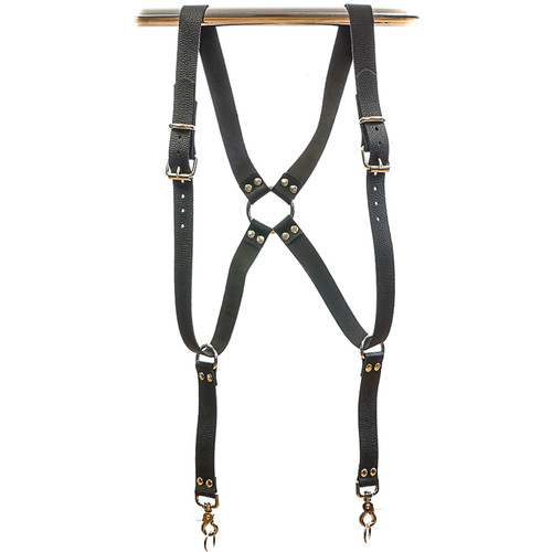 "Funk Plus Water Buffalo Leather Ring Back Harness with 1.25"" Wide Straps (Black)"