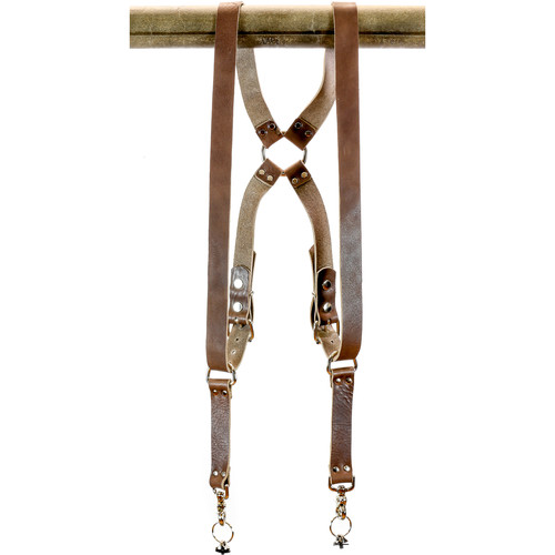 "Funk Plus Water Buffalo Leather Ring Back Harness with 1.25"" Wide Straps (Dark Brown)"