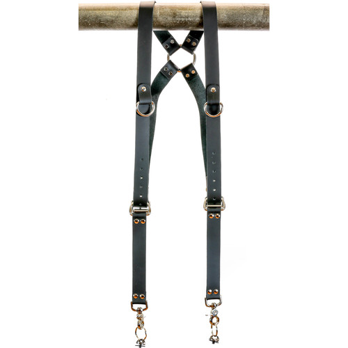 """Funk Plus Cowhide Leather Ring Back Harness with 1.25"""" Wide Straps and D-Rings (Black)"""