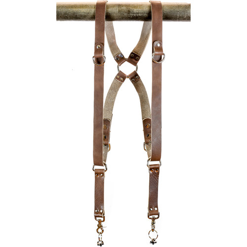 "Funk Plus Water Buffalo Leather Ring Back Harness with 1.25"" Wide Straps and D-Rings (Dark Brown)"