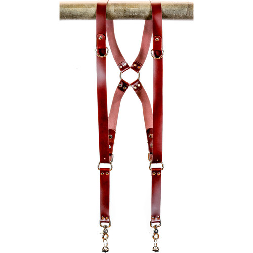 """Funk Plus Latigo Leather Ring Back Harness with 1.25"""" Wide Straps and D-Rings (Burgundy)"""