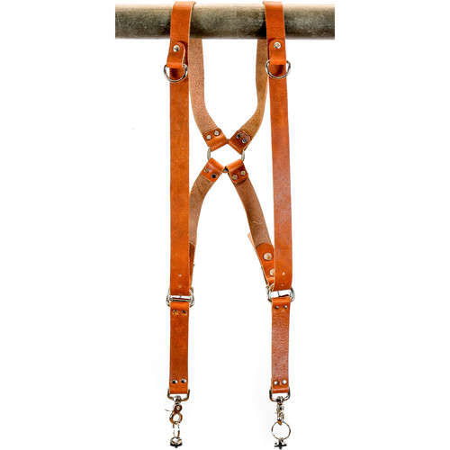 "Funk Plus Water Buffalo Leather Ring Back Harness with 1.25"" Wide Straps and D-Rings (Dark Tan)"
