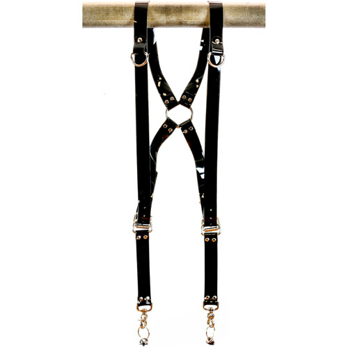 "Funk Plus PVC Vinyl Ring Back Harness with 1.25"" Wide Straps and D-Rings (Black)"