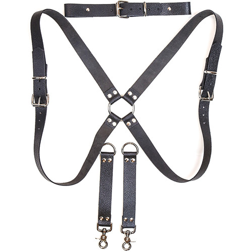 Funk Plus Ring Back Dual-Camera Water Buffalo Leather Harness with Chest Adjuster (Black)