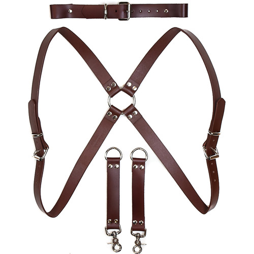 Funk Plus Ring Back Dual-Camera Cowhide Leather Harness with Chest Adjuster (Brown)