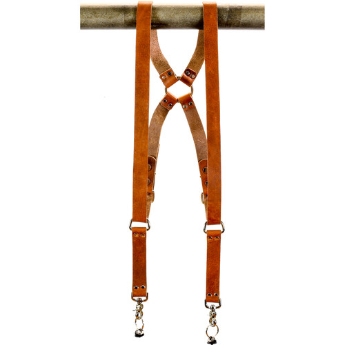 """Funk Plus Water Buffalo Leather Ring Back Harness with 1.25"""" Wide Straps (Dark Tan)"""
