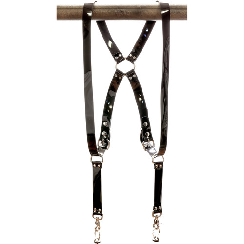 """Funk Plus PVC Vinyl Ring Back Harness with 1.25"""" Wide Straps (Black)"""