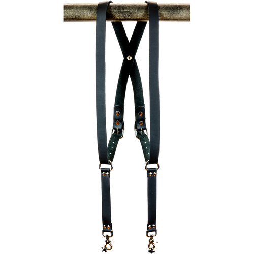 "Funk Plus Cowhide Leather Snap Back Harness with 1.25"" Wide Straps (Black)"