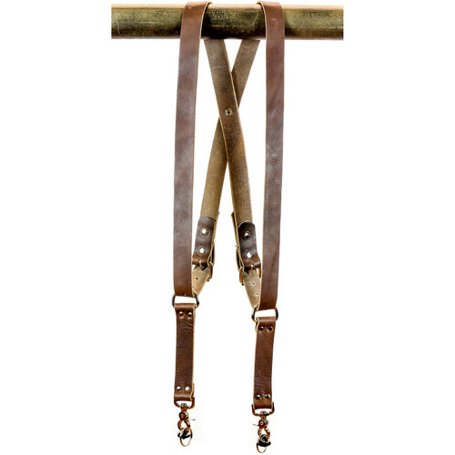 "Funk Plus Water Buffalo Leather Snap Back Harness with 1.25"" Wide Straps (Dark Brown)"