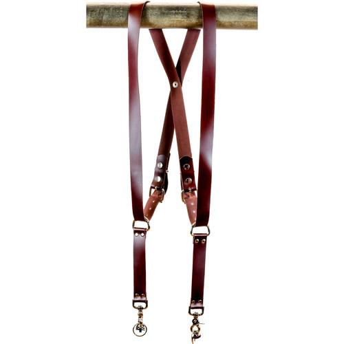 "Funk Plus Latigo Leather Snap Back Harness with 1.25"" Wide Straps (Burgundy)"