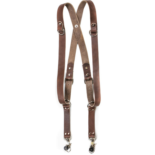 "Funk Plus Water Buffalo Leather Snap Back Harness with 1.25"" Wide Straps and D-Rings (Dark Brown)"
