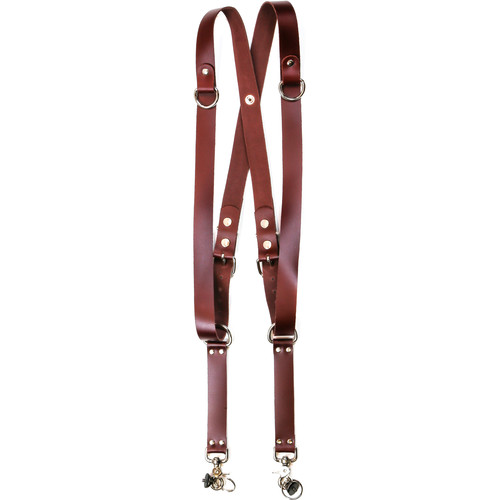 """Funk Plus Latigo Leather Snap Back Harness with 1.25"""" Wide Straps and D-Rings (Burgundy)"""