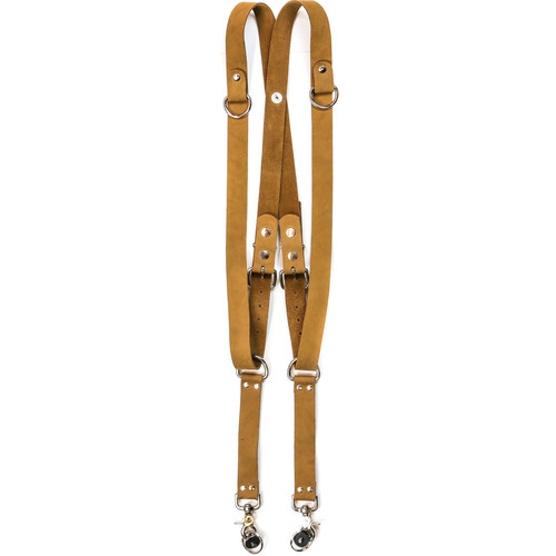 "Funk Plus Suede Leather Snap Back Harness with 1.25"" Wide Straps and D-Rings (Brown)"