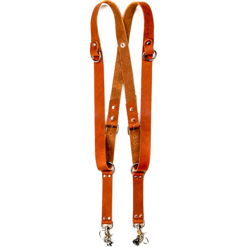 """Funk Plus Water Buffalo Leather Snap Back Harness with 1.25"""" Wide Straps and D-Rings (Dark Tan)"""