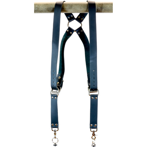 """Funk Plus Cowhide Leather Ring Back Harness with 1.5"""" Wide Straps (Black)"""