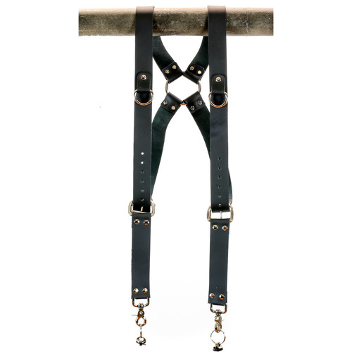 """Funk Plus Cowhide Leather Ring Back Harness with 1.5"""" Wide Straps and D-Rings (Black)"""