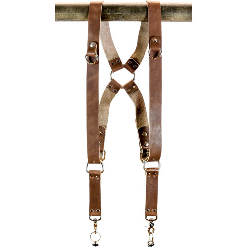 "Funk Plus Water Buffalo Leather Ring Back Harness with 1.5"" Wide Straps and D-Rings (Dark Brown)"