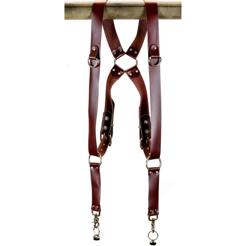 """Funk Plus Latigo Leather Ring Back Harness with 1.5"""" Wide Straps and D-Rings (Burgundy)"""