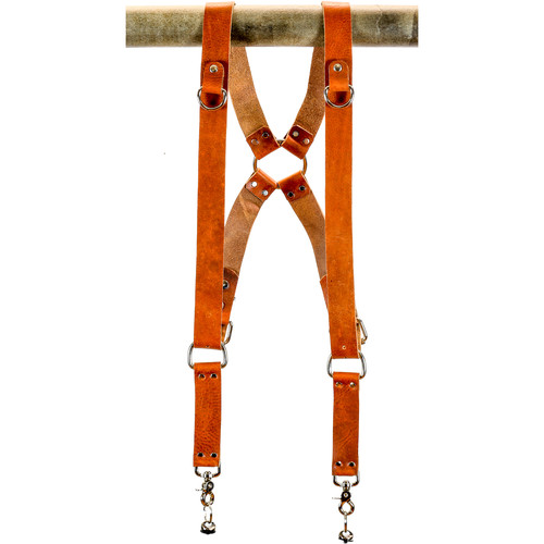 "Funk Plus Water Buffalo Leather Ring Back Harness with 1.5"" Wide Straps and D-Rings (Dark Tan)"