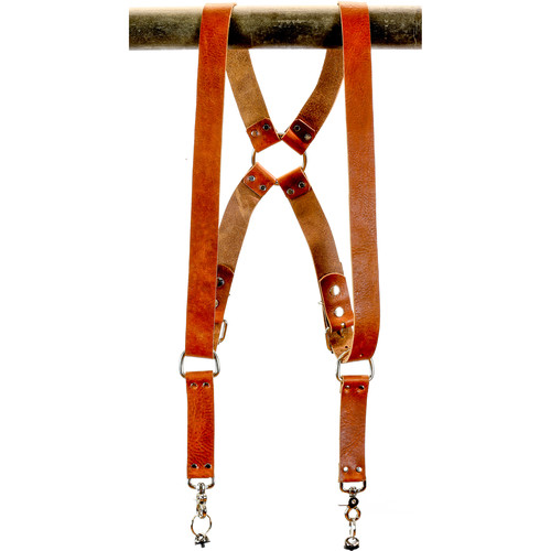 """Funk Plus Water Buffalo Leather Ring Back Harness with 1.5"""" Wide Straps (Dark Tan)"""
