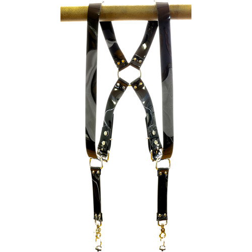 """Funk Plus PVC Vinyl Ring Back Harness with 1.5"""" Wide Straps (Black)"""
