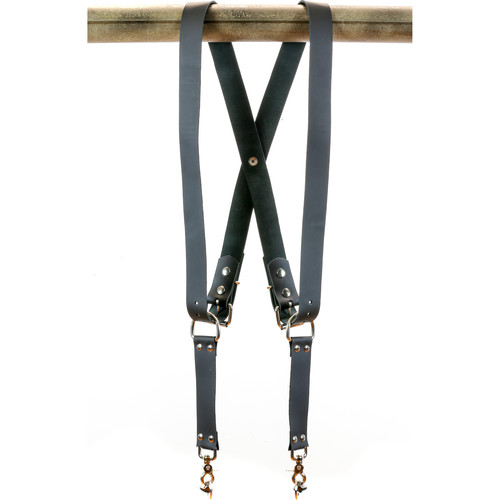 "Funk Plus Cowhide Leather Snap Back Harness with 1.5"" Wide Straps (Black)"