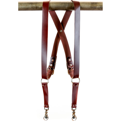 "Funk Plus Latigo Leather Snap Back Harness with 1.5"" Wide Straps (Burgundy)"