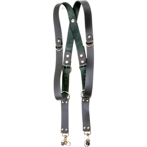 """Funk Plus Cowhide Leather Snap Back Harness with 1.5"""" Wide Straps and D-Rings (Black)"""