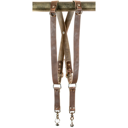 "Funk Plus Water Buffalo Leather Snap Back Harness with 1.5"" Wide Straps and D-Rings (Dark Brown)"