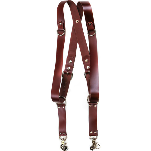 "Funk Plus Latigo Leather Snap Back Harness with 1.5"" Wide Straps and D-Rings (Burgundy)"