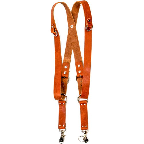 """Funk Plus Water Buffalo Leather Snap Back Harness with 1.5"""" Wide Straps and D-Rings (Dark Tan)"""