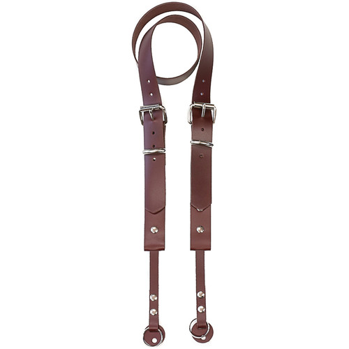 """Funk Plus 1.13"""" Double Roller Buckle Leather Camera Strap (Brown)"""