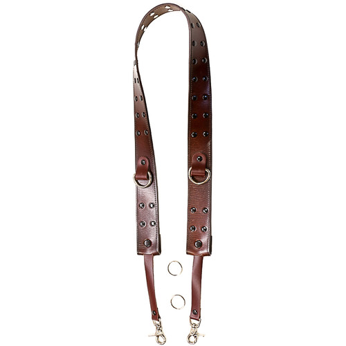 """Funk Plus 1.75"""" Wide Camera Strap with D-Ring (Rivet Studded Brown)"""