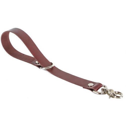 """Funk Plus 1.13"""" Leather Leash Hand Strap with D-Ring (Brown)"""