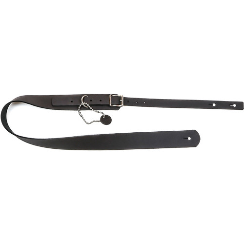 """Funk Plus Classy Genuine Premium Leather Guitar Strap with Buckle (42 to 52"""", Black Cowhide)"""