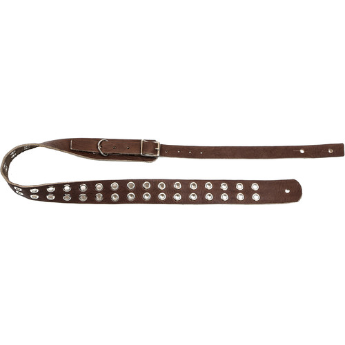 """Funk Plus Double Grommet Genuine Premium Leather Guitar Strap with Buckle (42 to 52"""", Dark Brown)"""