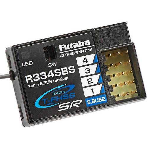 Futaba R334SBS 2.4 GHz T-FHSS Telemetry System 4-Channel Receiver with Super Response