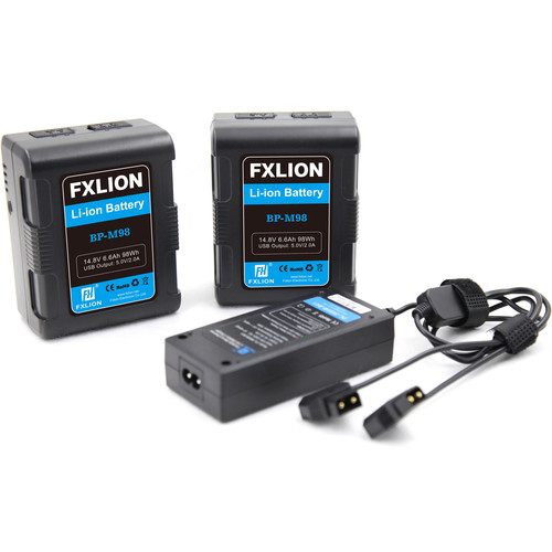 Fxlion BP-M98 Dual Square Compact Battery & Charger Kit (98Wh, V-Mount)