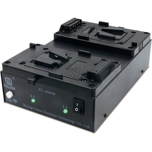 Fxlion Dual-Channel V-Mount and BP Battery Charger with DC Output for HD Video Camera
