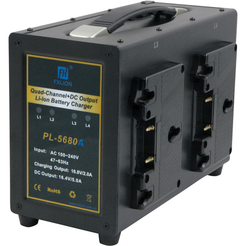 Fxlion 4-Channel Gold-Mount Battery Charger with DC Output for HD Video Camera