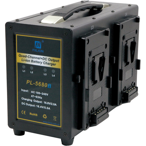 Fxlion 4-Channel V-Mount Battery Charger with DC Output for HD Video Camera