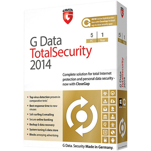 G Data Software Total Security 2014 Software Download (5 PC, 1-Year)
