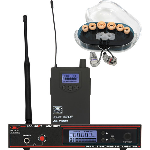 Galaxy Audio AS-1100-D Anyspot Wireless Personal Monitor with Single Driver Ear Buds & Case