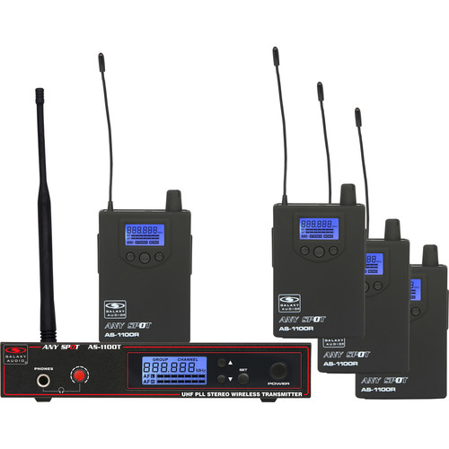 Galaxy Audio AS-1110-4N 4-User Wireless Personal Monitor Band-Pack System