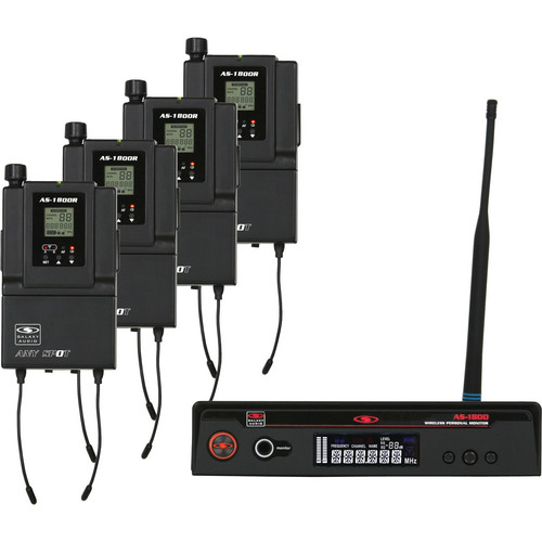 Galaxy Audio AS-1800-4 300' Range Personal Wireless Monitor Band Pack System
