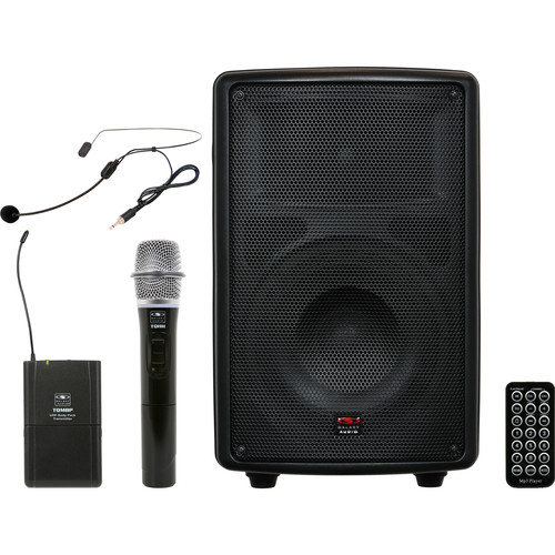 "Galaxy Audio TQ8-24HSN Traveler Quest 8"" Speaker with Wireless Handheld and Headset Microphones"
