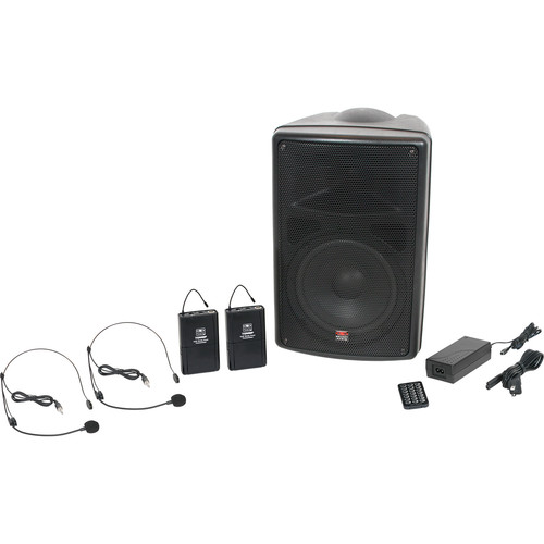 """Galaxy Audio TQ8-24SSN Traveler Quest 8 Portable 8"""" PA System with Two Receivers, Bodypack Transmitters, and Headset Microphones"""