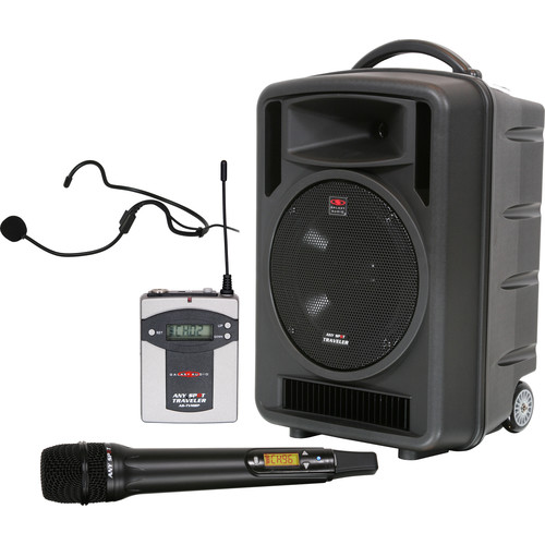 """Galaxy Audio Traveler 10"""" 150W Peak PA System with Dual-Wireless Receiver, Bodypack, Headset Mic & Handheld Microphone"""