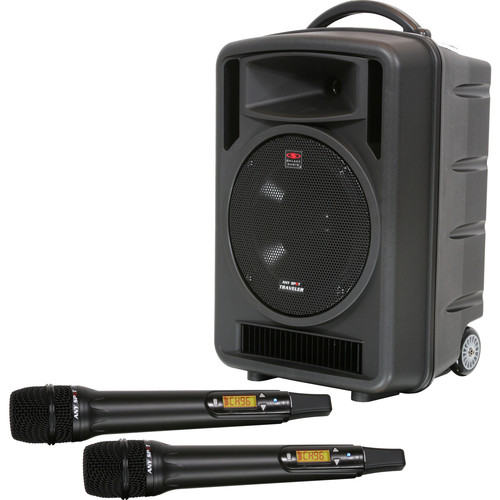 "Galaxy Audio Traveler 10"" 150W Peak PA System with CD Player, Dual UHF Receiver & 2 x Handheld Wireless Mics"